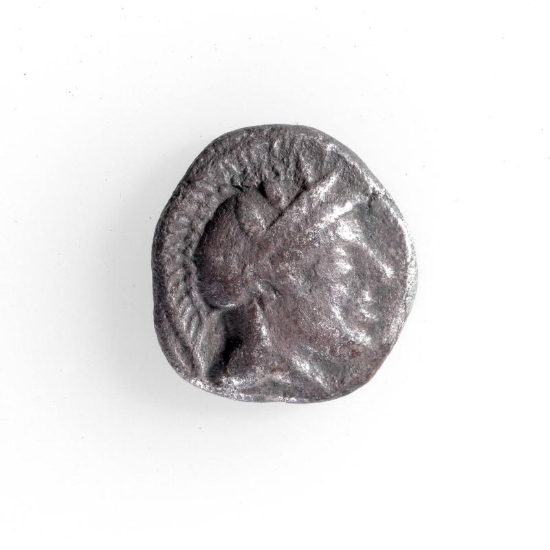 Drachma Coin with Owl Head in Profile