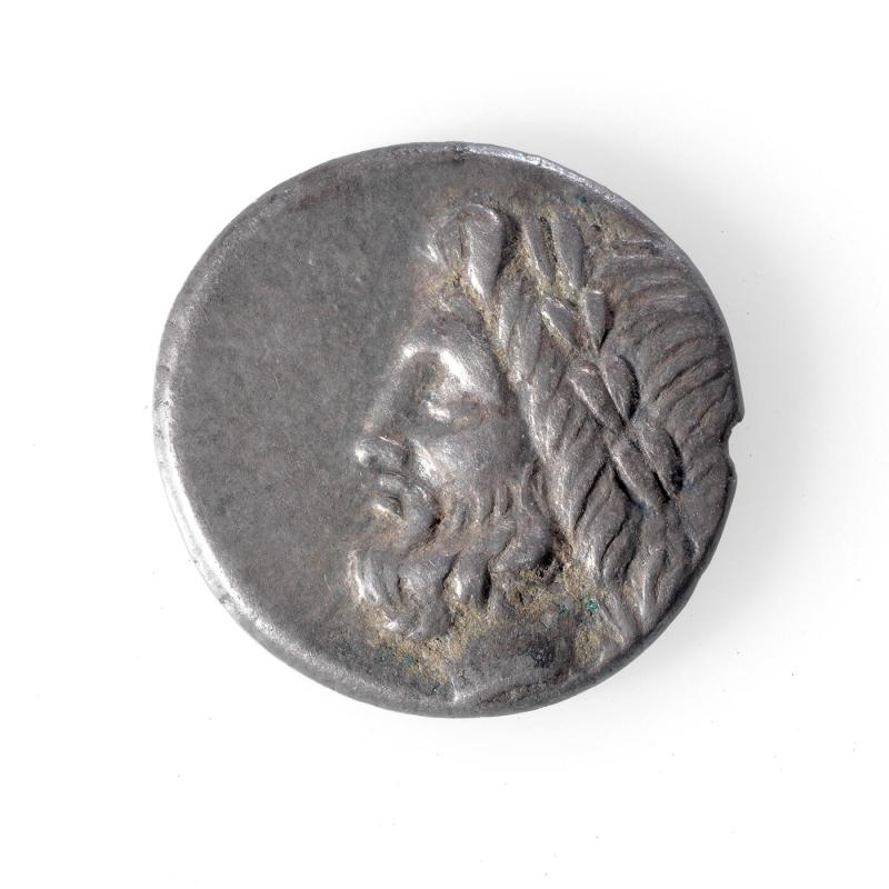 Triobol Coin with Man Seated, Eagle and Zeus in Profile