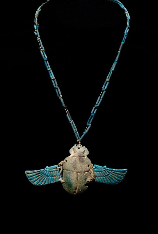 Necklace with winged scarab
