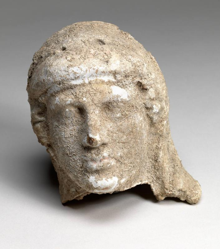 head; fragment of terracotta figurine