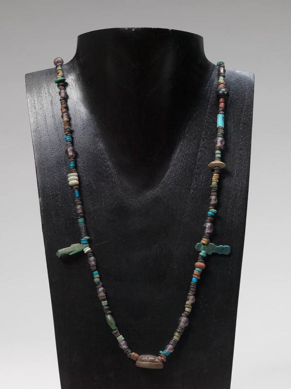 Necklace with beads, amulets and scarab