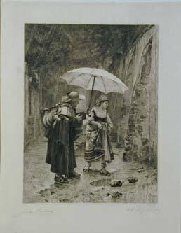Untitled: Man offering umbrella to woman in rain