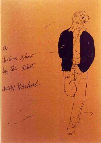 """A Picture Show by the Artist Andy Warhol"" Announcement card for exhibition based on the book ""A Gold Book by Andy Warhol"".  [Stuttgart, Germany, 1976]."