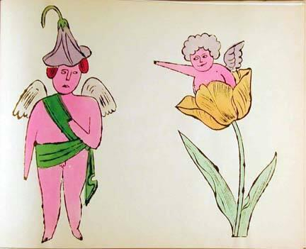 """In the Bottom of My Garden""  [New York, 1956].  Bound artist's book, 40 pages with 21 plates [including cover].  Litho-offset and hand coloring on paper throughout."