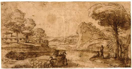 Landscape with Figures around a Stream