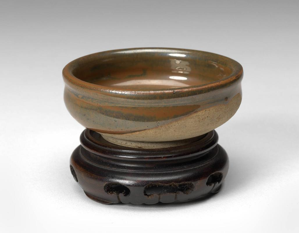 Brown Glazed Bowl, Henan Ware with stand