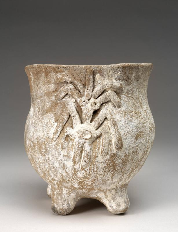 footed bowl with corn-stalk motif