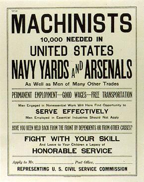 Machinists-- 10,000 Needed in United States Navy Yards and Arsenals