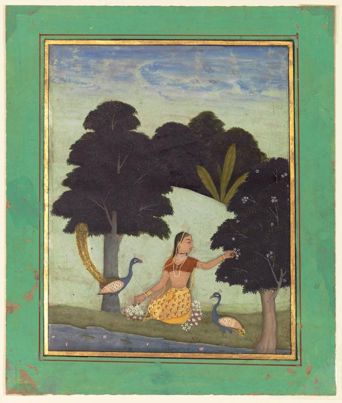 Ragini, possibly Kakubha, Page from a Dispersed Ragamala Set