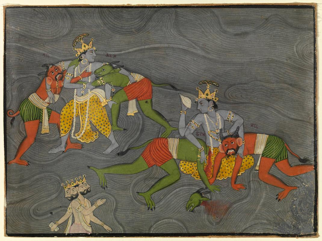 The God Vishnu (Appearing Twice, Against the Background of the Cosmic Ocean) Slays Two Demons;  the God Brahma Pays Him Homage
