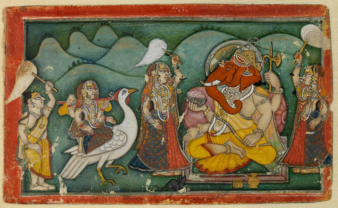 Ganesha and Lakshmi, with Three Attendants
