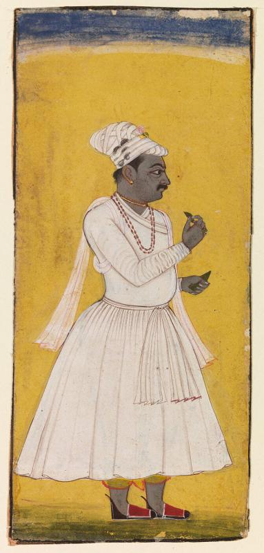 Portrait of a Nobleman Dressed in White, Standing Against a Yellow Background