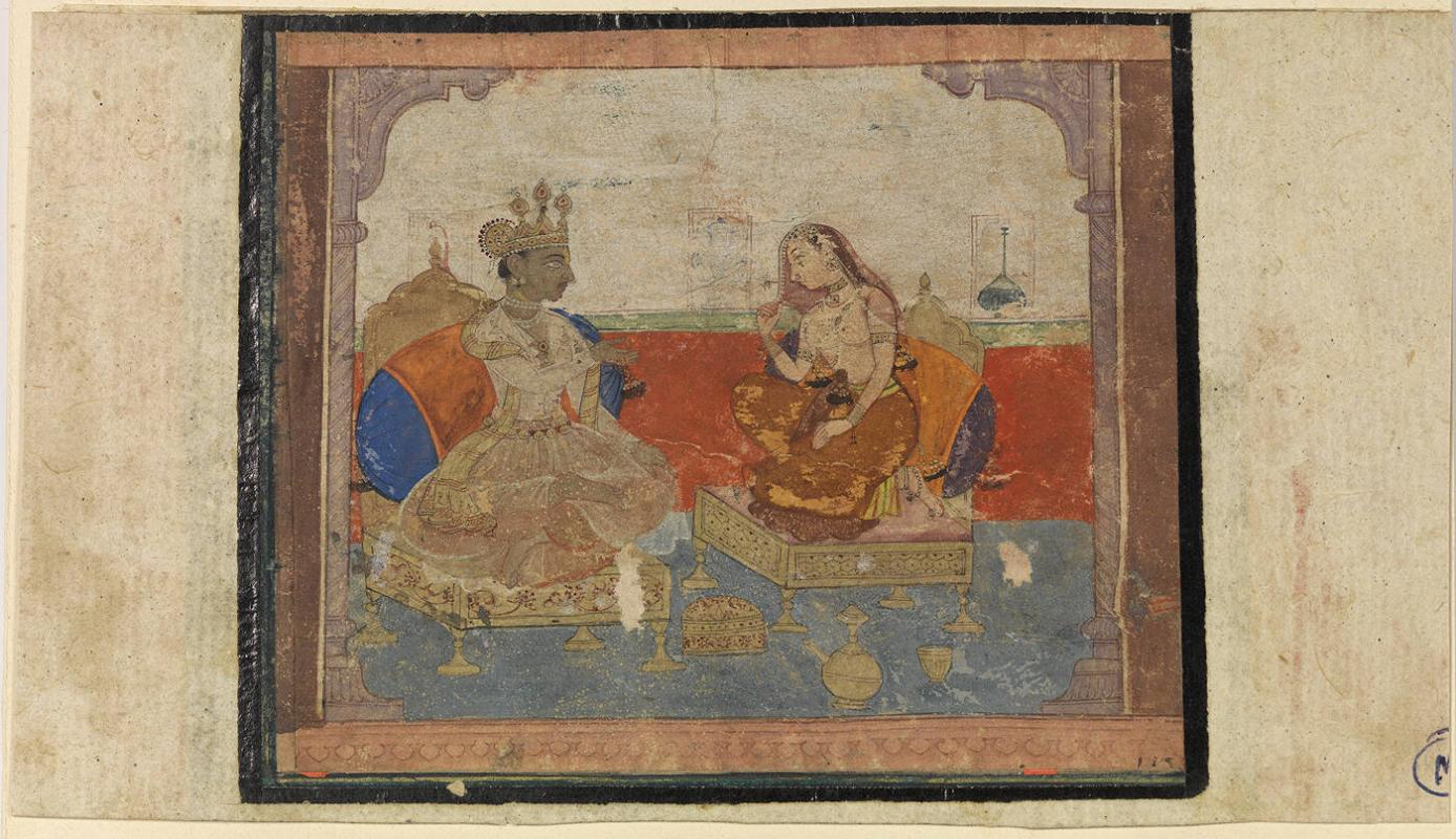 Krishna and Radha Seated in a Palace Chamber from the Rasikapriya of Keshav Das