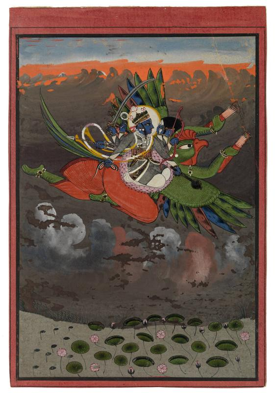 Vishnu Carried by Garuda Through a Stormy Sky