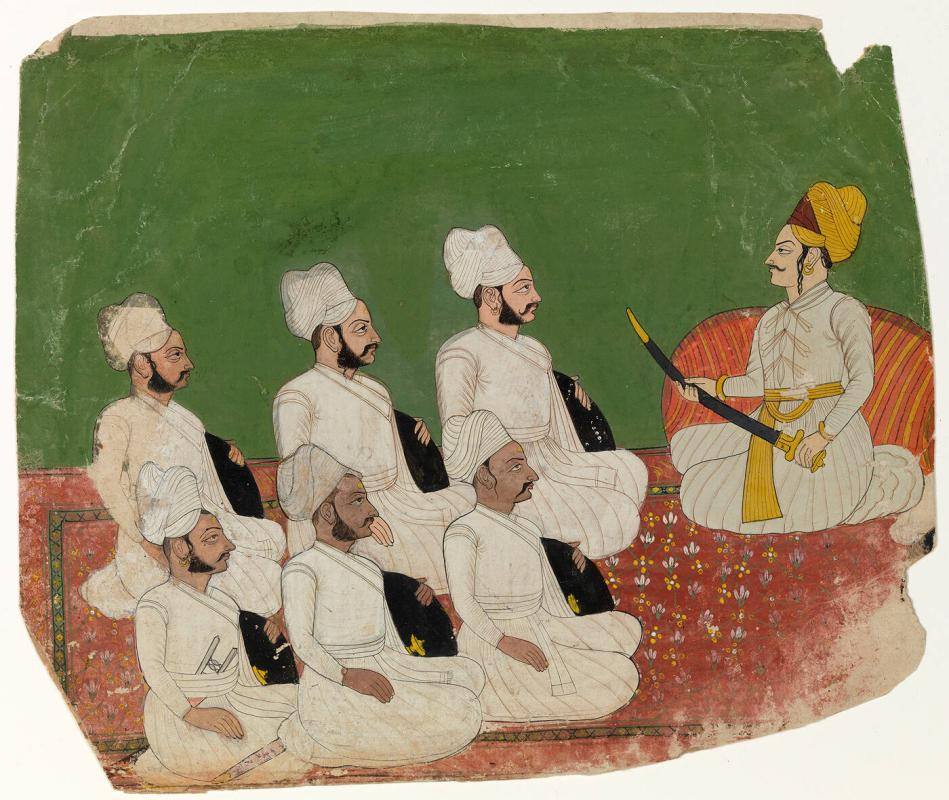 A Nobleman with Six Attendants, in Darbar