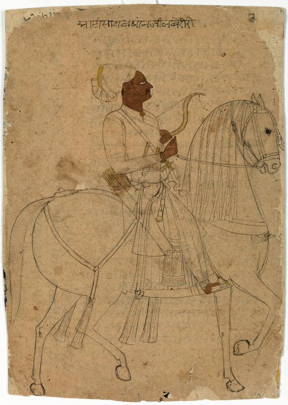 Equestrian Portrait of Bhatisaheb Khanji of Laberi