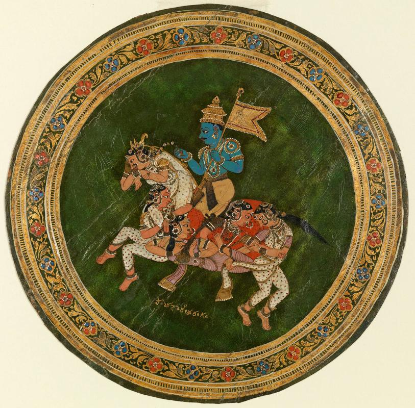 "Playing card (ganjifa): Krishna Riding a ""Composite"" Horse (Fashioned from a Mosaic of Individual Ladies)"