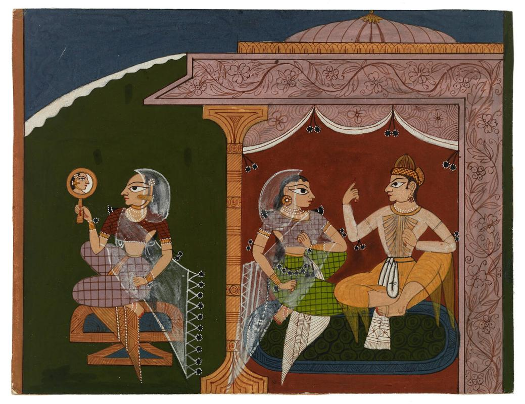 Two Lovers in a Pavilion: a Lady Stands Outside Looking in a Mirror