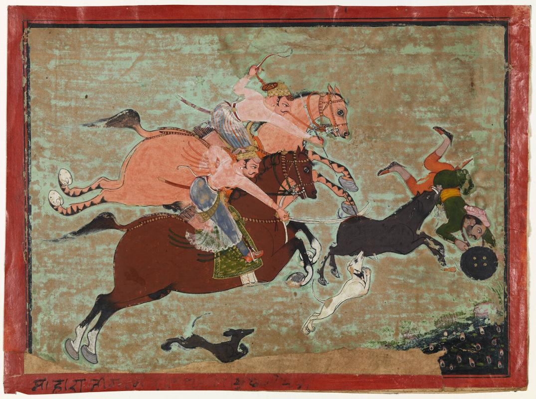 Two Riders on Horseback, Hunting Wild Boar