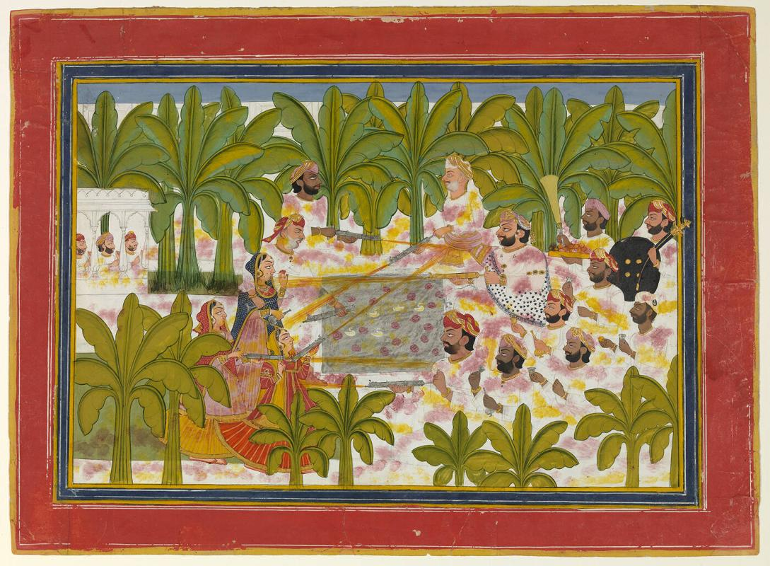 A Prince with Courtiers Celebrating Holi, the Spring Festival, in a Palace Garden