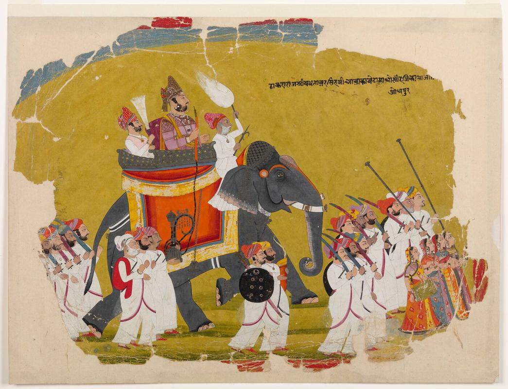 Thakur Bakhtawar Singh, Seated on an Elephant with two Attendants, in Procession with Numerous Retainers on Foot