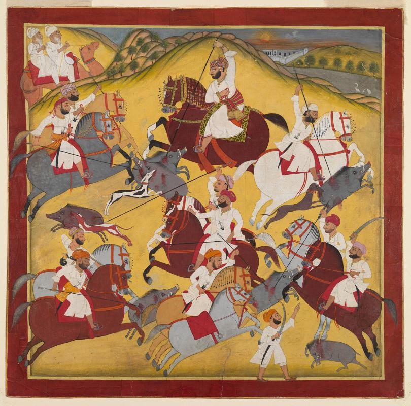 Nobleman with Attendants Hunting Boar