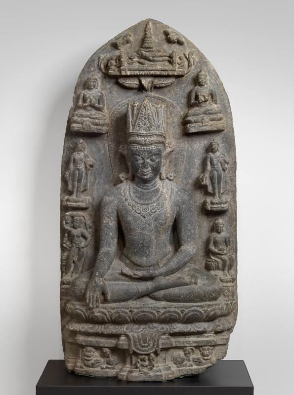 Black Stone Stele of a Crowned Buddha