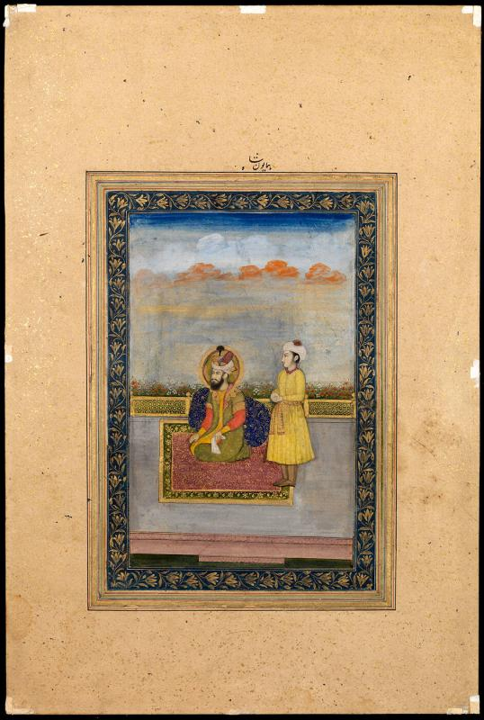 Emperor Humayun and an attendant on a terrace (blue floral border)