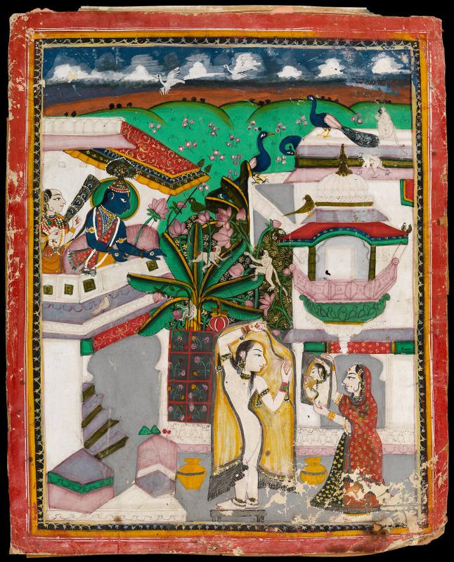 Toilet of Radha and Krishna peering from above
