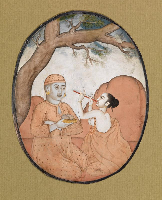 Female flute player and a male Chinese figure with a bowl (oval with no border; cut from a larger work)