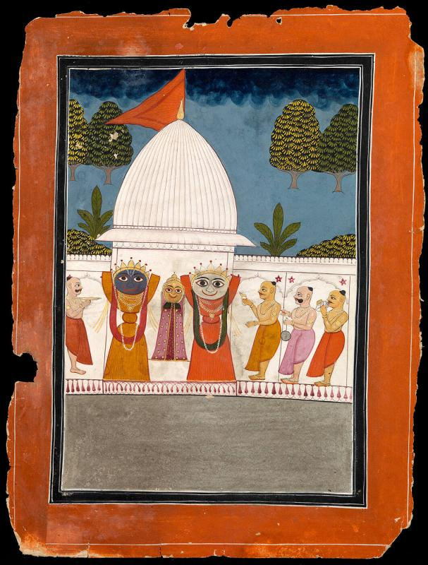 Brahmins worshipping the Jaganath trio