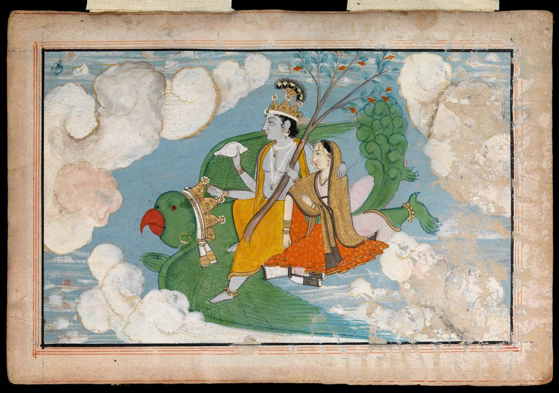 Krishna and Radha flying upon Garuda