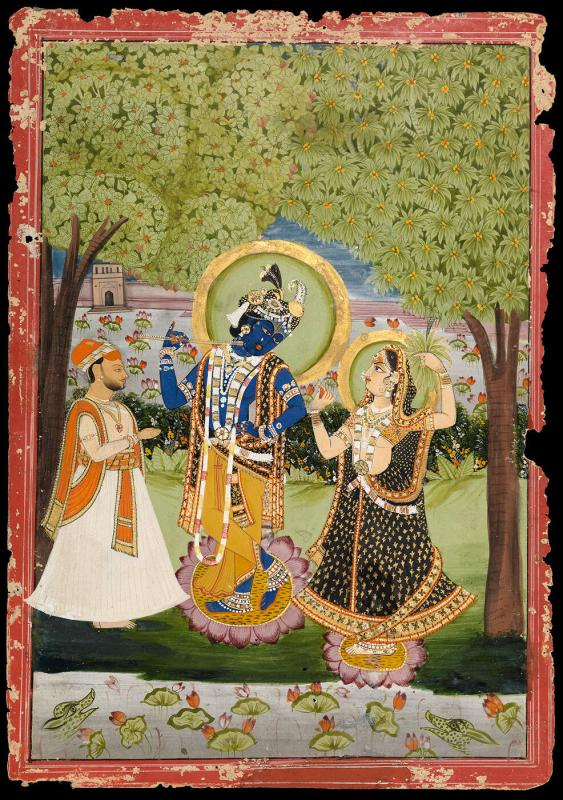 Krishna, Radha and a devotee in a lavish garden (red border)