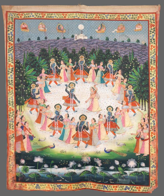 Rasa Lila: Krishna dances with Radha and with each of the village Gopis