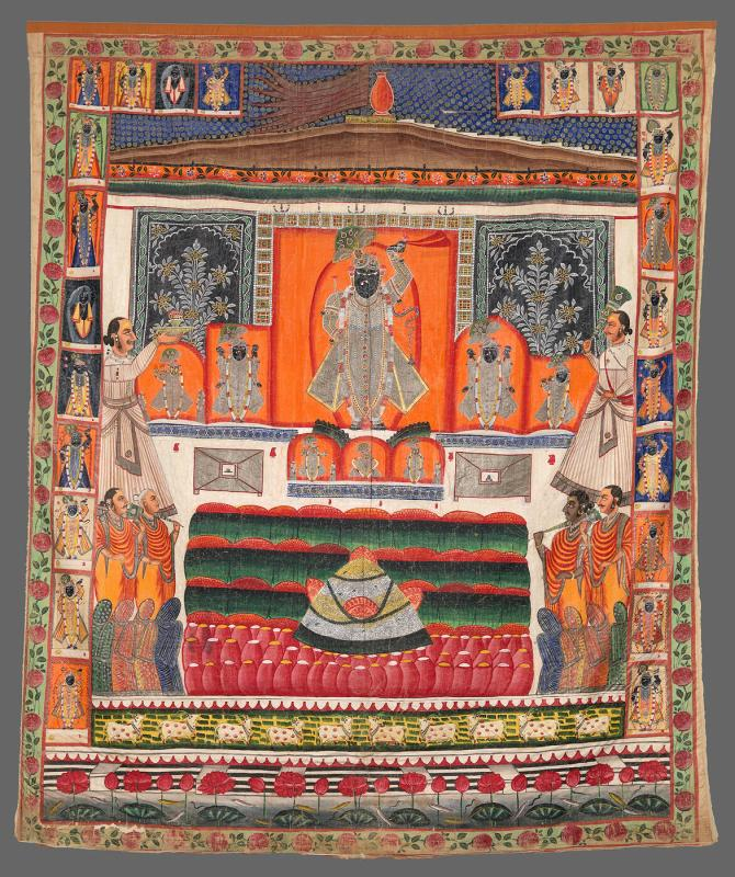 Annakut, the Mountain of Food: An image of Krishna as Shrinathji with an offering of food arrayed before him