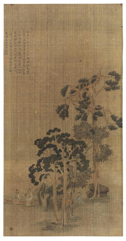 Two sages accompanied by servants amid pine and Wu-tung trees