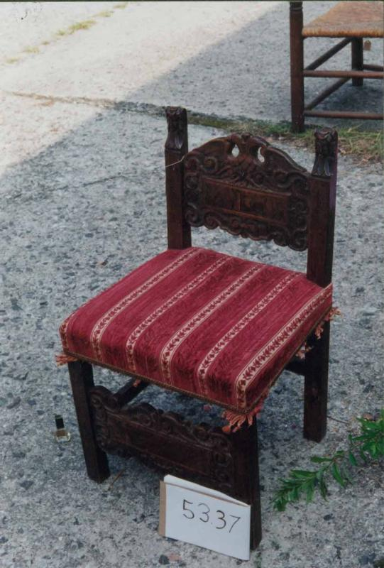 Low Chair with red velvet seat