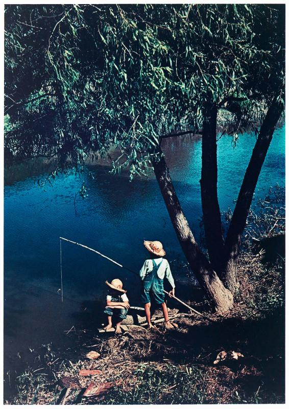 Cajun Children Fishing in Bayou Near the School by Terrebonne Project. Schriever, Louisiana .