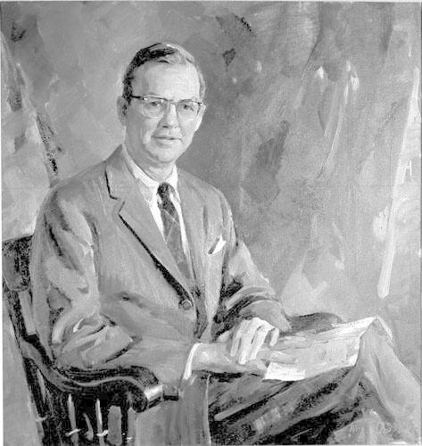 Portrait of John Edward Sawyer (b.1917), Class of 1939, Eleventh President of Williams College 1961-1973, College Trustee 1952-1961