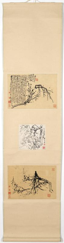 Sketches (three leaves mounted as hanging scroll)