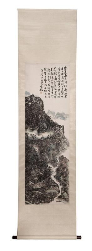 Mountain valley landscape with central villa, mountain paths, and scholar on a fishing boat