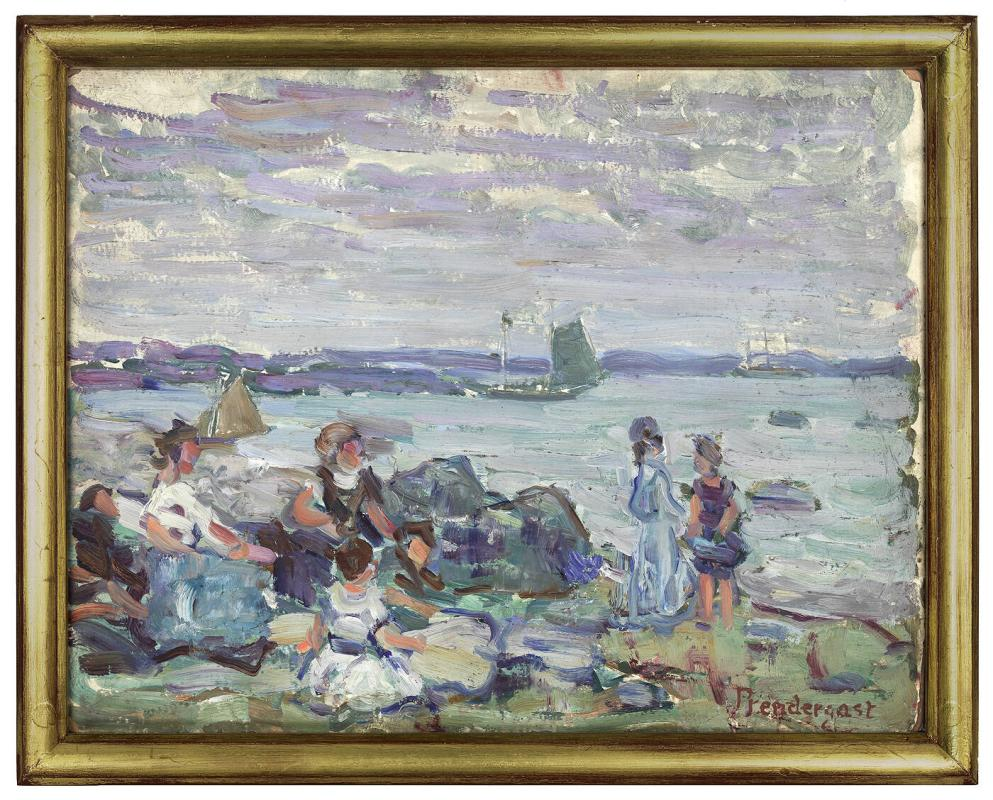 Boats and Figures by the Sea