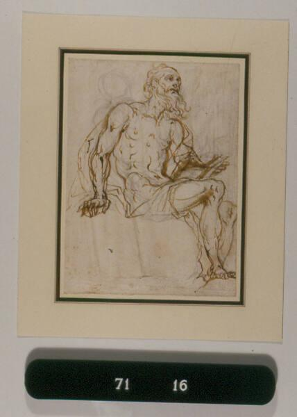 Draped male figure, seated holding a book