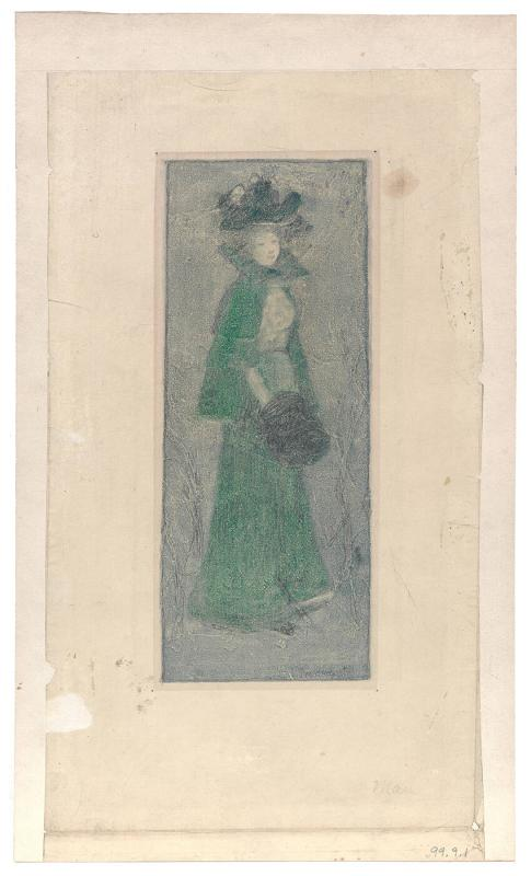 Girl in Green with Muff