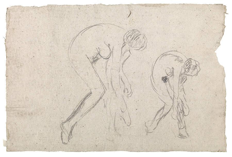 Two Studies of a Nude Bending