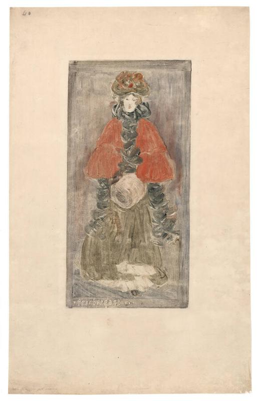 Lady with Red Cape and Muff