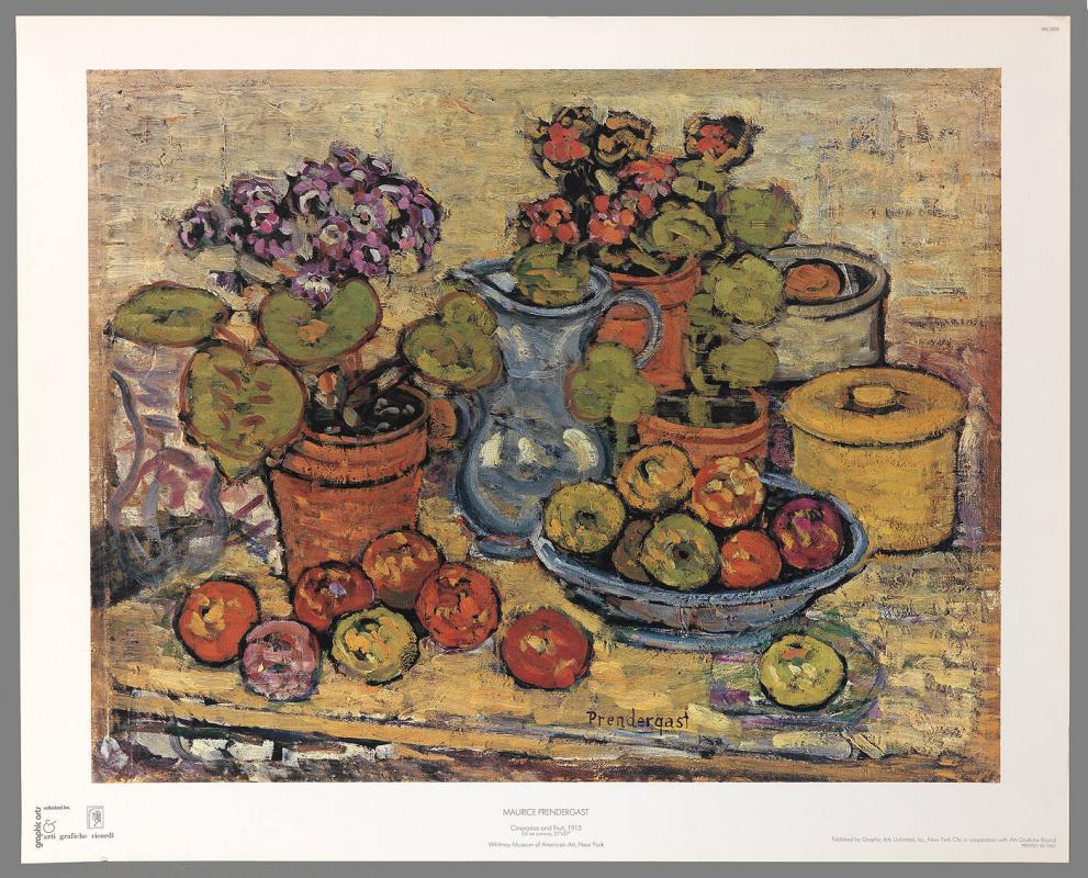 Poster of Cinerarias and Fruit by Maurice Prendergast