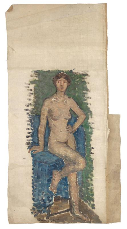 Standing Nude Model with Blue Cloth