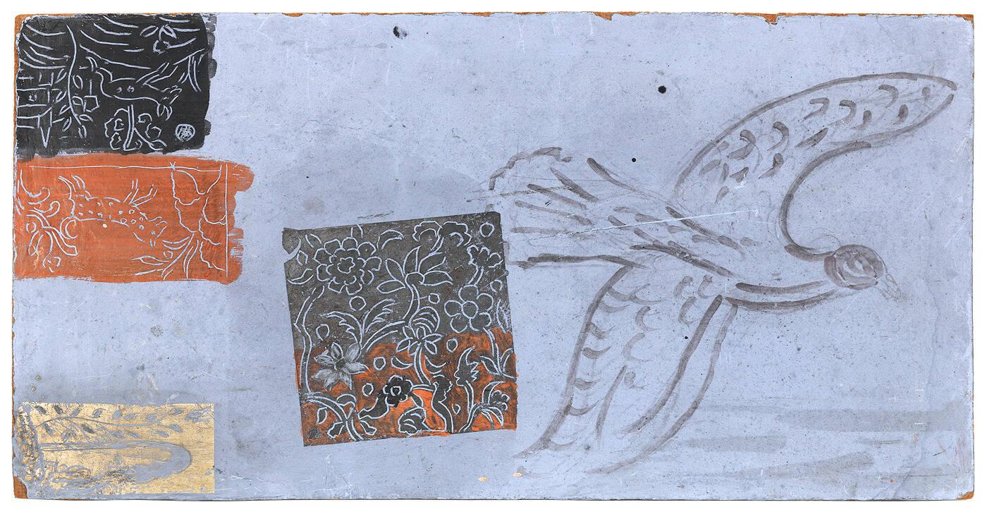 Untitled: bird with four incised sketches