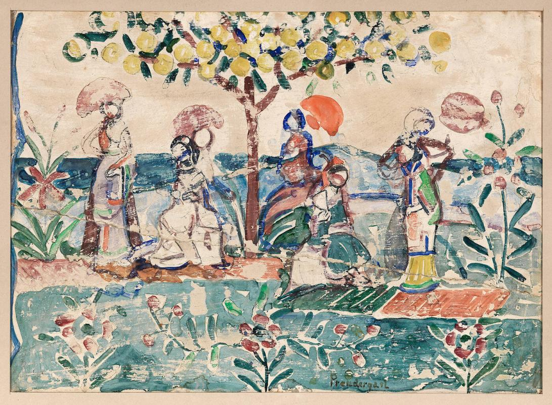 Figures with Parasols Under Trees